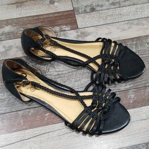 Seychelles black leather strappy sandals size 8